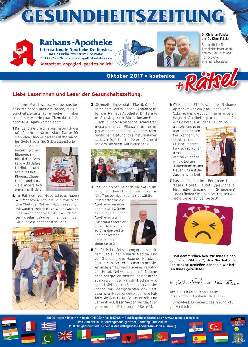 Gesundheitszeitung 10 2017 Rathaus Apotheke