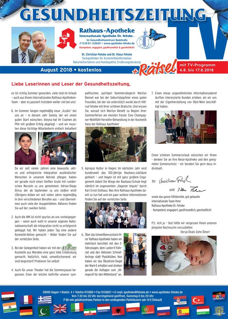 Gesundheitszeitung 8/2018 - Rathaus-Apotheke